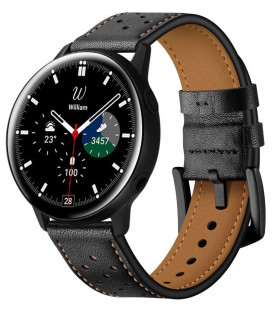 """Juoda apyrankė Samsung Galaxy Watch 4 40 / 42 / 44 / 46mm laikrodžiui """"Tech-Protect Leather"""""""