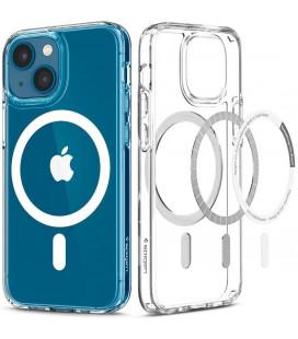 """Baltas/skaidrus dėklas Apple iPhone 13 Mini telefonui """"Spigen Ultra Hybrid MAG Magsafe"""""""