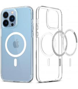 "Baltas/skaidrus dėklas Apple iPhone 13 Pro Max telefonui ""Spigen Ultra Hybrid MAG Magsafe"""