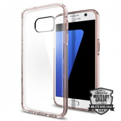 "Rausvai skaidrus dėklas Samsung Galaxy S7 Edge G935F telefonui ""Spigen Ultra Hybrid"""