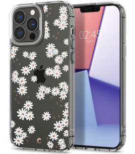 "Baltas dėklas su gėlėmis Apple iPhone 13 Pro Max telefonui ""Spigen Cyrill Cecile White Daisy"""