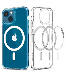 "Baltas/skaidrus dėklas Apple iPhone 13 telefonui ""Spigen Ultra Hybrid MAG Magsafe"""