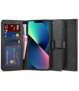 """Juodas atverčiamas dėklas Apple iPhone 13 Mini telefonui """"Tech-protect Wallet 2"""""""