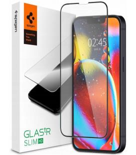 """Juodas apsauginis grūdintas stiklas Apple iPhone 13 Mini telefonui """"Spigen Glas.TR Slim HD"""""""