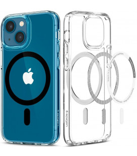 "Juodas/skaidrus dėklas Apple iPhone 13 telefonui ""Spigen Ultra Hybrid MAG Magsafe"""