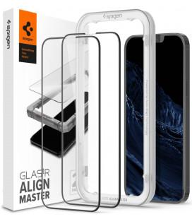 """Juodas apsauginis grūdintas stiklas Apple iPhone 13 Pro Max telefonui """"Spigen AlignMaster Glas tR 2-Pack"""""""