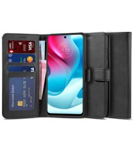 """Juodas atverčiamas dėklas Motorola Moto G60s telefonui """"Tech-protect Wallet 2"""""""