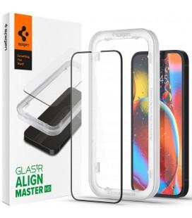 """Juodas apsauginis grūdintas stiklas Apple iPhone 13 Pro Max telefonui """"Spigen AlignMaster Glas tR"""""""