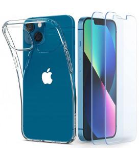 """Skaidrus dėklas + Grūdinti stikliukai Apple iPhone 13 telefonui """"Spigen Crystal Pack"""""""