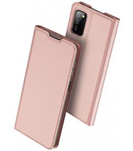 """Rausvai auksinės spalvos atverčiamas dėklas Samsung Galaxy A03s telefonui """"Dux Ducis Skin Pro"""""""