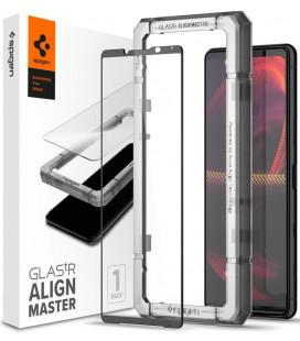 """Juodas apsauginis grūdintas stiklas Sony Xperia 5 III telefonui """"Spigen AlignMaster Glas tR"""""""