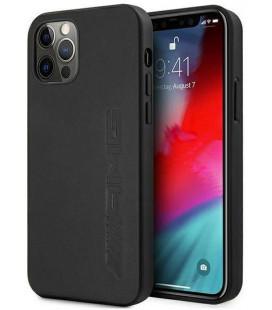 "Juodas dėklas Apple iPhone 12 / 12 Pro telefonui ""AMHCP12MDOLBK AMG Leather Big Stamped Logo Hard Case"""