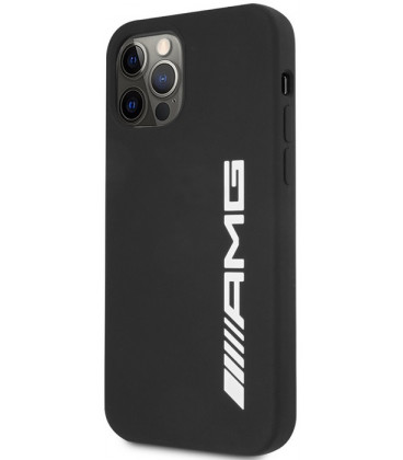 "Juodas dėklas Apple iPhone 12 / 12 Pro telefonui ""AMHCP12MSGLBGN AMG Liquid Silicone Big Logo Case"""