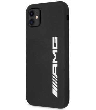 "Juodas dėklas Apple iPhone 11 telefonui ""AMHCN61SGLBGN AMG Liquid Silicone Big Logo Case"""