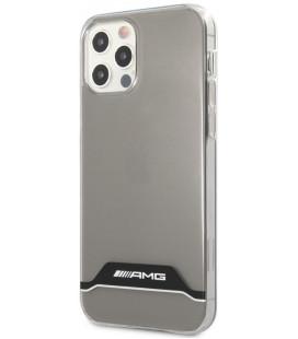 """Skaidrus/juodas dėklas Apple iPhone 12 / 12 Pro telefonui """"AMHCP12MTCBW AMG PC/TPU Horizontal Stripes Case"""""""
