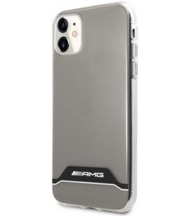 """Skaidrus/juodas dėklas Apple iPhone 11 telefonui """"AMHCN61TCBW AMG PC/TPU Horizontal Stripes Case"""""""