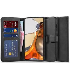 """Juodas atverčiamas dėklas Xiaomi 11T 5G / 11T Pro 5G telefonui """"Tech-protect Wallet 2"""""""