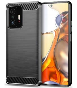 "Juodas dėklas Xiaomi 11T 5G / 11T Pro 5G telefonui ""Tech-Protect TPUCarbon"""