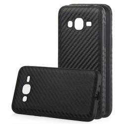 """Juodas CARBON dėklas Samsung Galaxy J3 2016 telefonui """"Qult Carbon"""""""