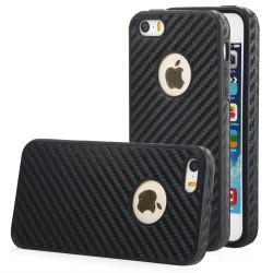 "Juodas CARBON dėklas Apple iPhone 5/5s/SE telefonui ""Qult Carbon"""