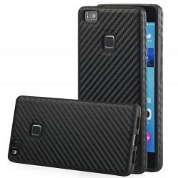 """Juodas CARBON dėklas Huawei P9 Lite telefonui """"Qult Carbon"""""""