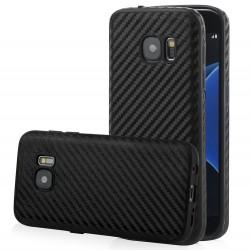 """Juodas CARBON dėklas Samsung Galaxy S7 G930 telefonui """"Qult Carbon"""""""