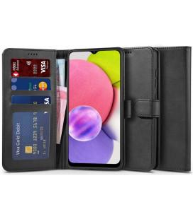 """Juodas atverčiamas dėklas Samsung Galaxy A03s telefonui """"Tech-protect Wallet 2"""""""