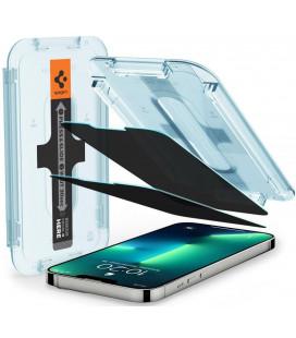 "Juodas apsauginis grūdintas stiklas Apple iPhone 13 Pro Max telefonui ""Spigen EZ Fit Privacy 2-Pack"""
