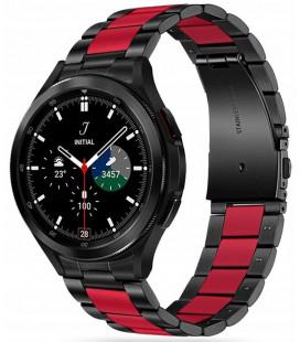 """Juoda/raudona apyrankė Samsung Galaxy Watch 4 40 / 42 / 44 / 46 mm laikrodžiui """"Tech-Protect Stainless"""""""