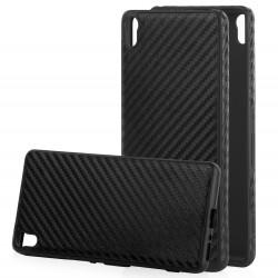 "Juodas CARBON dėklas Sony Xperia XA telefonui ""Qult Carbon"""