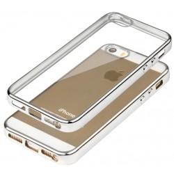 """Sidabrinės spalvos silikoninis dėklas Apple iPhone 5/5s/SE telefonui """"Glossy"""""""