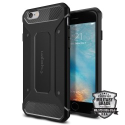 "Juodas dėklas Apple iPhone 6/6s telefonui ""Spigen Rugged Armor"""