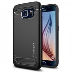 "Juodas dėklas Samsung Galaxy S6 G920 telefonui ""Spigen Capsule Ultra Rugged"""