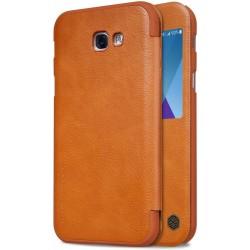 """Odinis rudas atverčiamas dėklas Samsung Galaxy A5 2017 A520 telefonui """"Nillkin Qin S-View"""""""