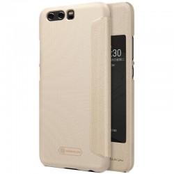 """Atverčiamas auksinės spalvos dėklas Huawei P10 telefonui """"Nillkin Sparkle S-View"""""""