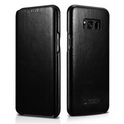 """Juodas odinis atverčiamas dėklas Samsung Galaxy S8 G950 telefonui """"iCarer Vintage"""""""