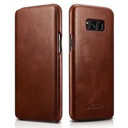 """Rudas odinis atverčiamas dėklas Samsung Galaxy S8 Plus telefonui """"iCarer Vintage"""""""