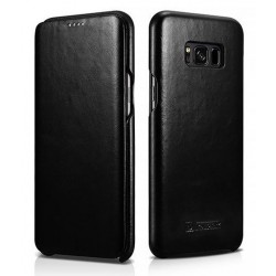 """Juodas odinis atverčiamas dėklas Samsung Galaxy S8 Plus G955 telefonui """"iCarer Vintage"""""""