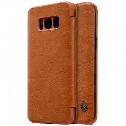 """Odinis rudas atverčiamas dėklas Samsung Galaxy S8 telefonui """"Nillkin Qin"""""""