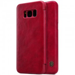 """Odinis raudonas atverčiamas dėklas Samsung Galaxy S8 telefonui """"Nillkin Qin"""""""