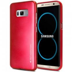 """Raudonas silikoninis dėklas Samsung Galaxy S8 telefonui """"Mercury iJelly Case Metal"""""""