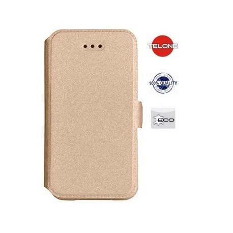 """Auksinės spalvos atverčiamas dėklas Apple iPhone 4/4s telefonui """"Telone Book Pocket"""""""