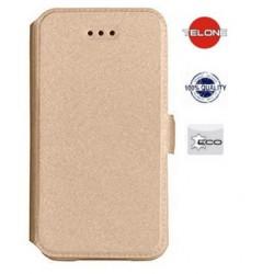 """Auksinės spalvos atverčiamas dėklas Samsung Galaxy J3 2016 telefonui """"Telone Book Pocket"""""""