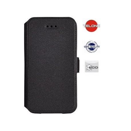 """Juodas atverčiamas dėklas Samsung Galaxy S6 Edge telefonui """"Telone Book Pocket"""""""