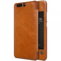 """Odinis rudas atverčiamas dėklas Huawei P10 Plus telefonui """"Nillkin Qin S-View"""""""