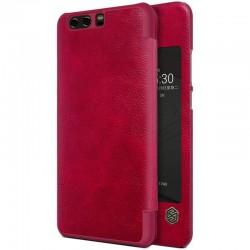 """Odinis raudonas atverčiamas dėklas Huawei P10 Plus telefonui """"Nillkin Qin S-View"""""""