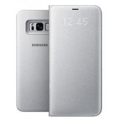 """Originalus sidabrinės spalvos dėklas """"LED View Cover"""" Samsung Galaxy S8 Plus telefonui ef-ng955pse"""