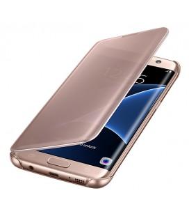 """Originalus atverčiamas rausvai auksinės spalvos dėklas """"Clear View Cover"""" Samsung Galaxy S7 Edge telefonui ef-zg935cze"""