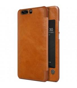 """Odinis rudas atverčiamas dėklas Huawei P10 telefonui """"Nillkin Qin S-View"""""""