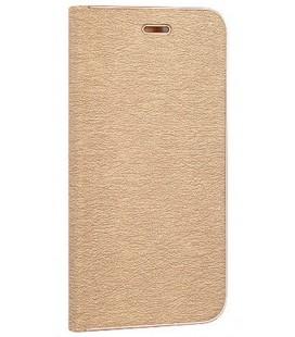 """Auksinės spalvos atverčiamas dėklas su rėmeliu Huawei P8/P9 Lite 2017 telefonui """"Book Vennus Z"""""""